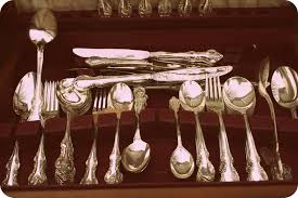 polished silverware